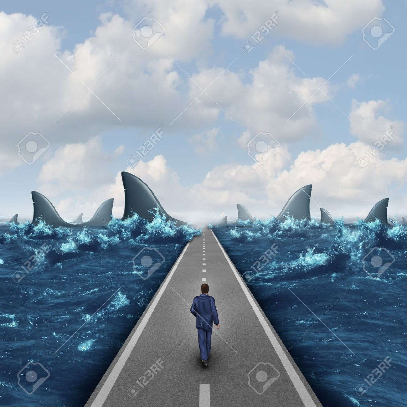 Headed for danger business concept as a man walking on a straight road towards a group of dangerous sharks as a metaphor and symbol of risk and courage from a person on a career path or life journey. - 34381854