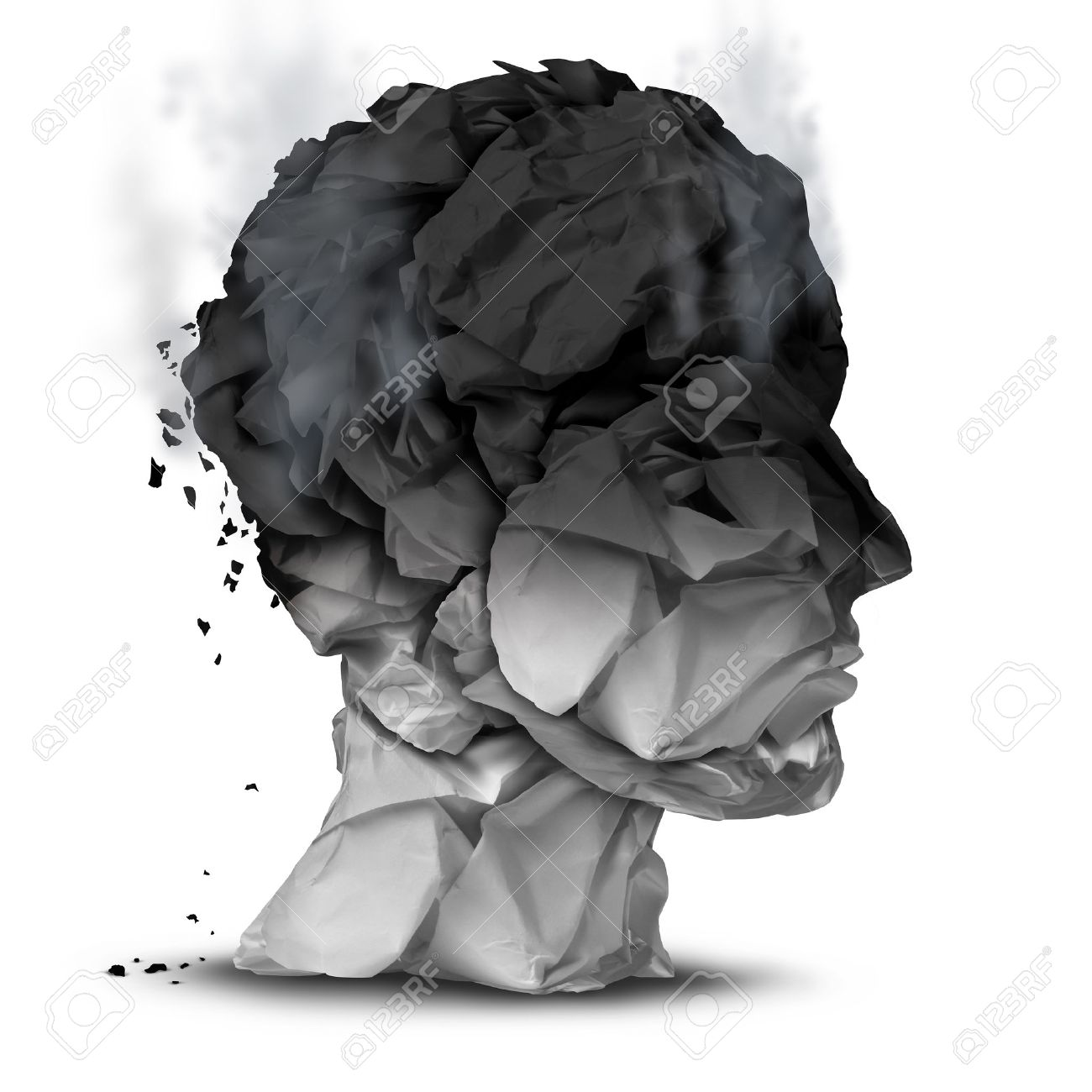Burnout overworked concept and work stress symbol for a psychological emotional disorder diagnosis as a human head made of burnt office paper on a white background. - 38697526