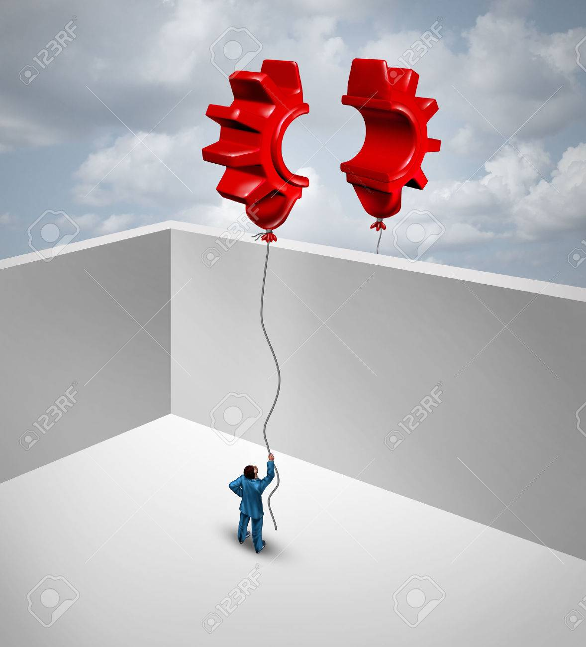 Overcome Business Barriers As Two Partners Separated By Walls In A