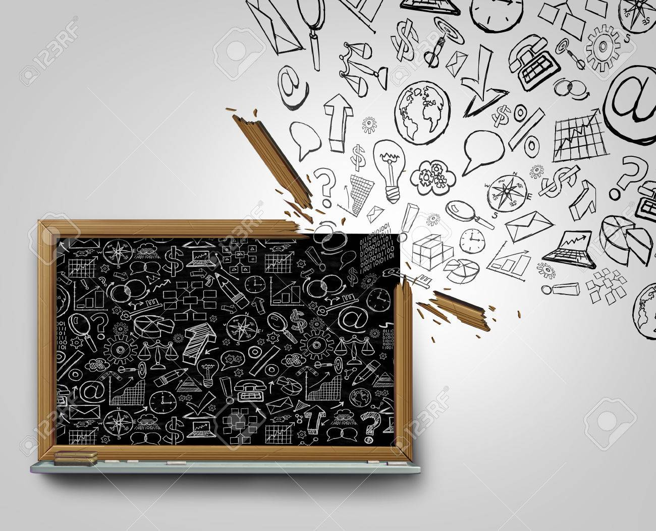outside the box office. Business Plan Communication Outside The Box Concept As A Blackboard With Financial Office Icons Sketched On