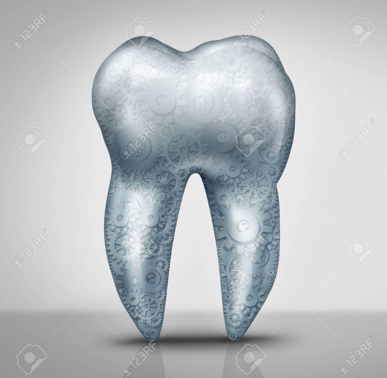 Concepto De La Tecnología Dental Como Un Diente Molar Con Engranajes ...