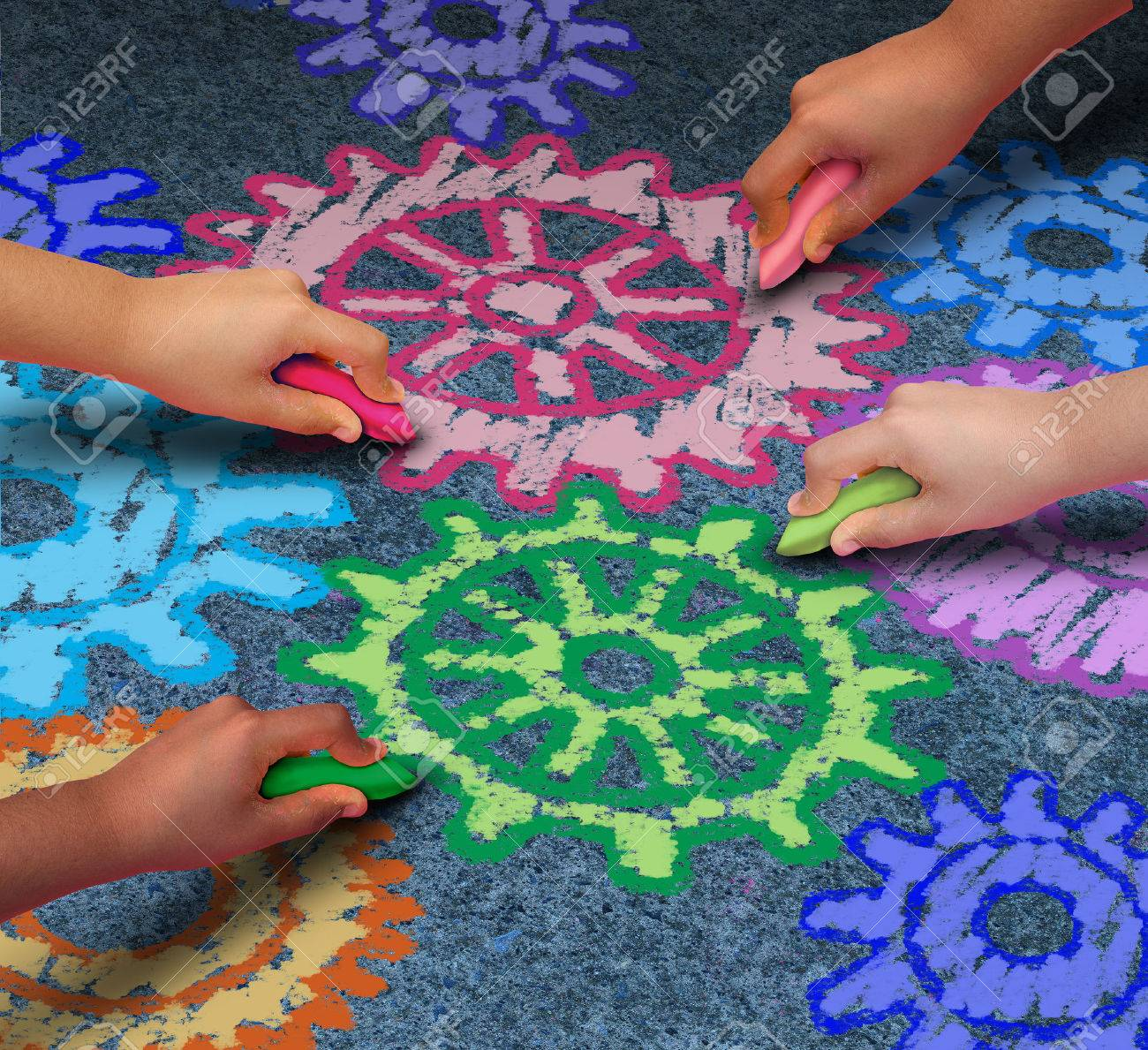 Education concept as a diverse community of children working together in friendship drawing connected gears and cog wheels with chalk as a symbol for the success of learning with a school program. Stock Photo - 41506649