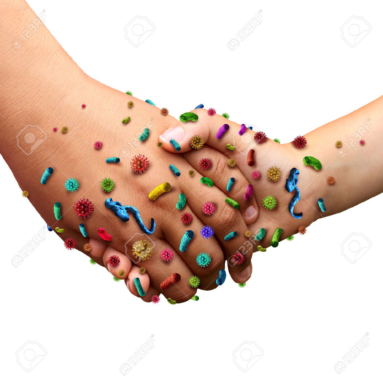 Infectious diseases spread hygiene concept as people holding hands with germ virus and bacteria spreading with illness in public as a health care risk concept to not wash your hands as dirty infected fingers and palm with contagious pathogens. - 41506707