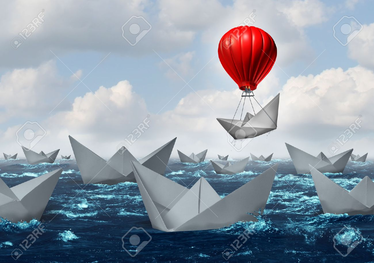 business advantage concept and game changer symbol as an ocean business advantage concept and game changer symbol as an ocean a crowd of paper boats