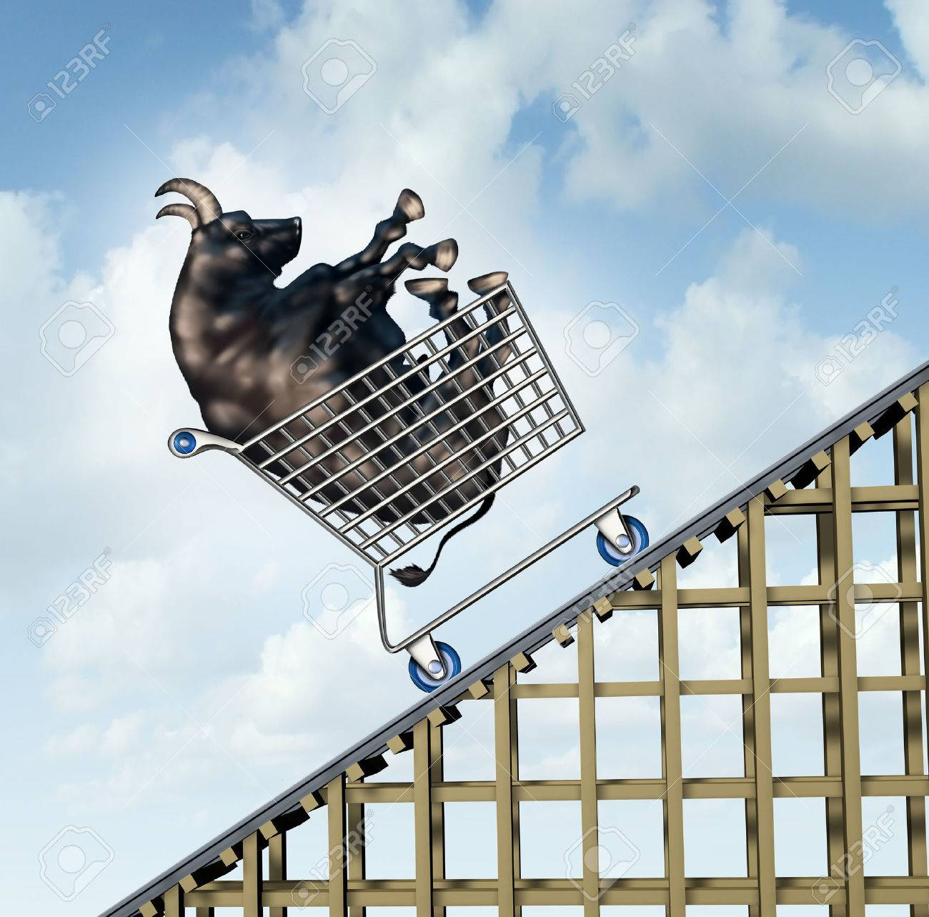 Stock market rise financial success concept as a bull in a stock market rise financial success concept as a bull in a shopping cart going up on buycottarizona