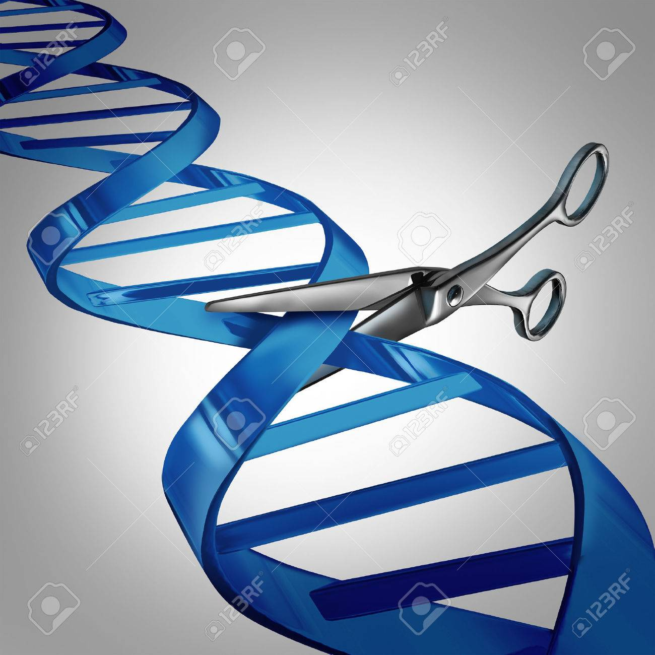 Gene editing health care concept as molecular scissors cutting a dna strand as a medical science and biology technology symbol for changing genetic material to help cure disease. - 44009926