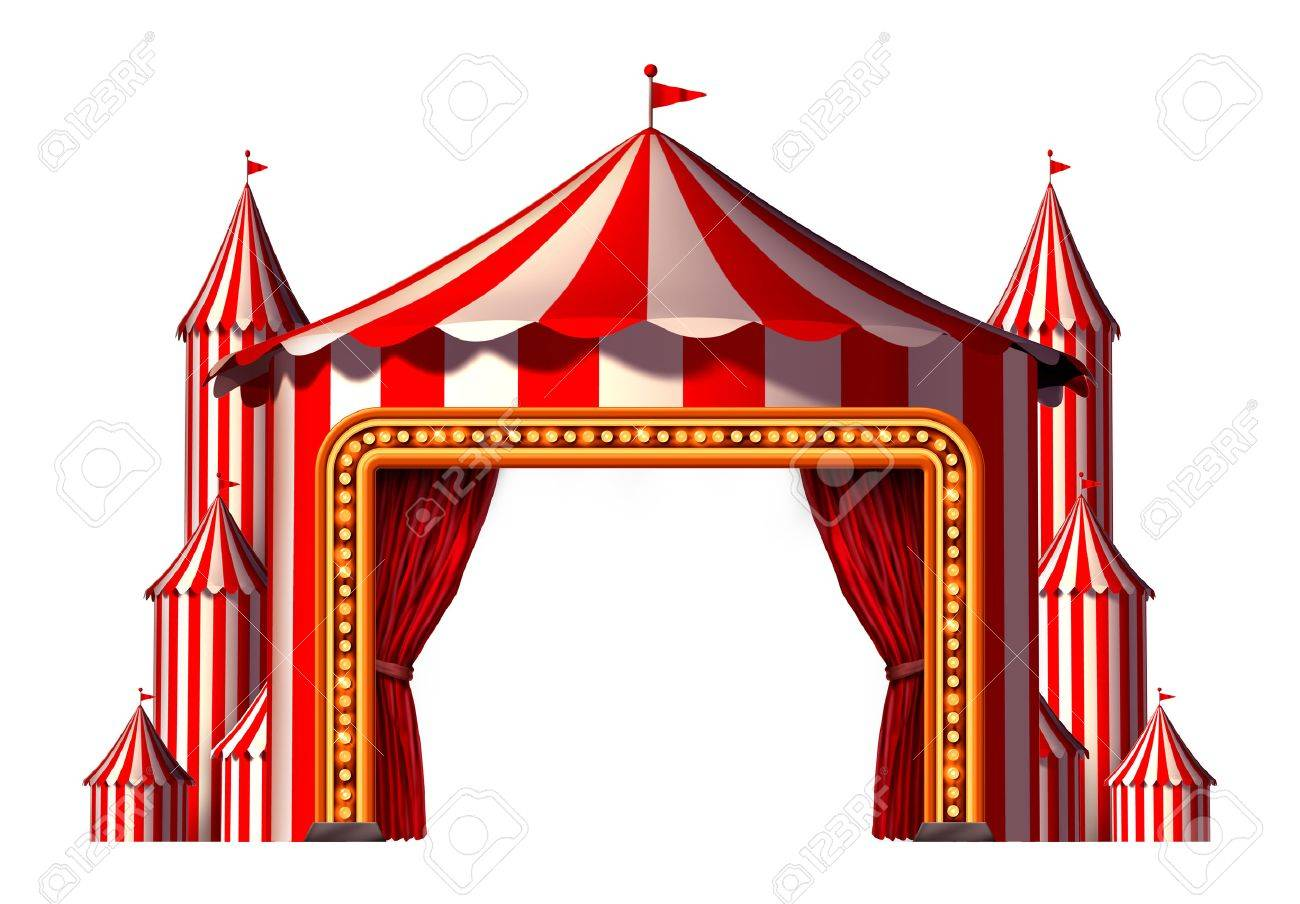 Circus blank space stage tent design element as a group of big top carnival tents with a red curtain opening entrance as a fun entertainment icon for a ...  sc 1 st  123RF.com & Circus Blank Space Stage Tent Design Element As A Group Of Big ...