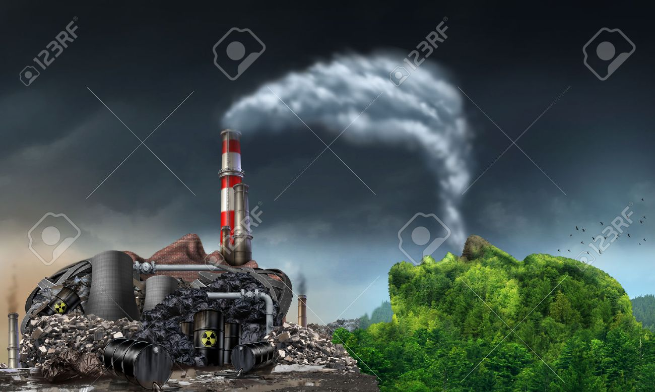 pollution industry pollution environment concept as a human head shaped as a dirty power plant