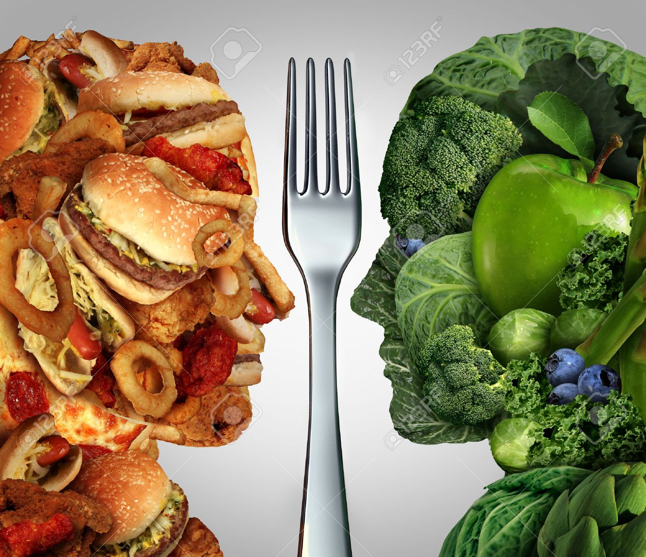 Nutrition Decision Concept And Diet Choices Dilemma Between Healthy Good  Fresh Fruit And Vegetables Or Greasy