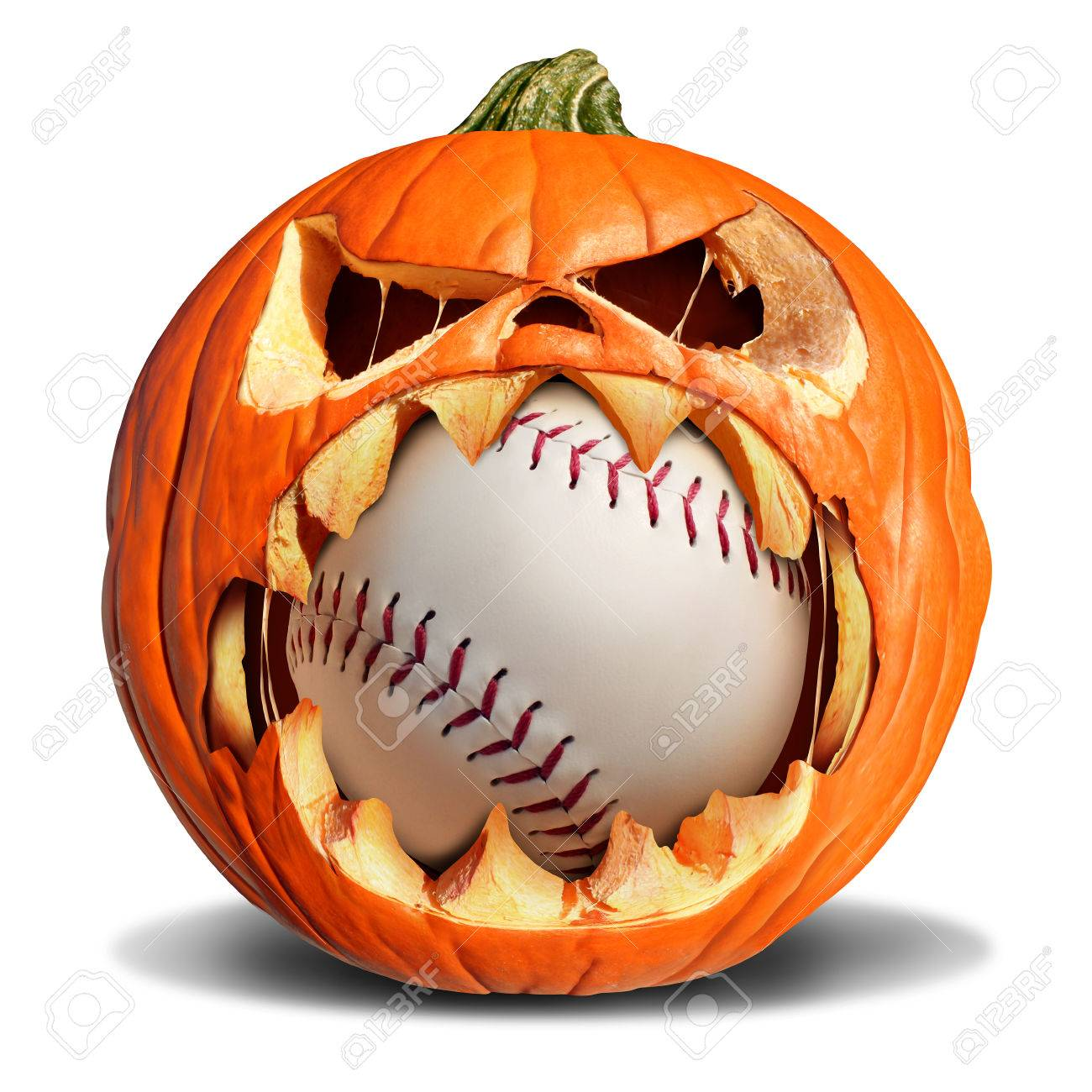 autumn baseball concept as a pumpkin jack o lantern biting into