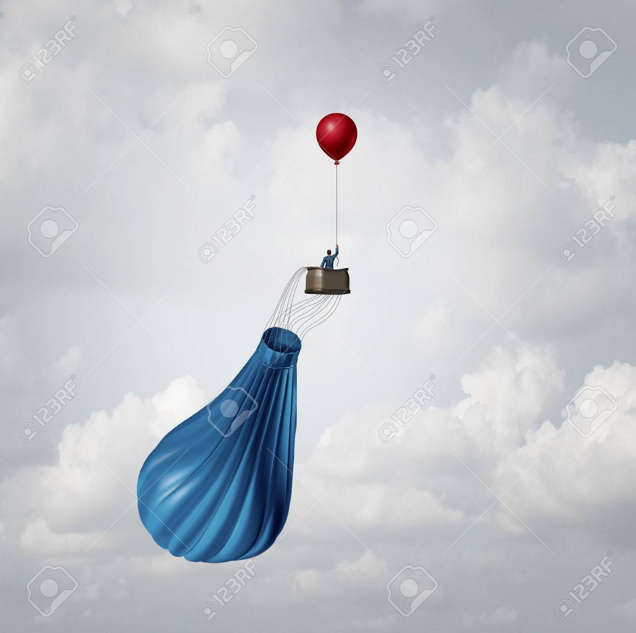 Emergency business plan and crisis management strategy metaphor as a businessman in a broken deflated hot air balloon being saved by a single small balloon as an innovative response solution idea. - 46714587