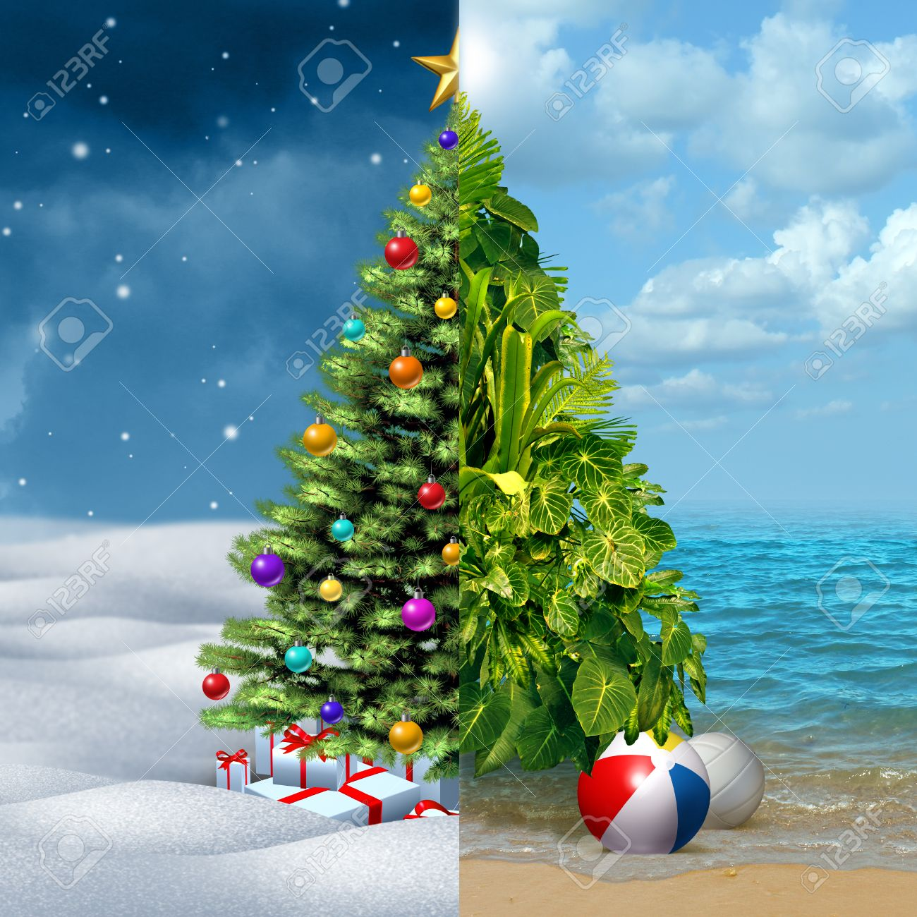 Half Christmas.Winter And Tropical Christmas Holiday Concept As A Festive Decorated