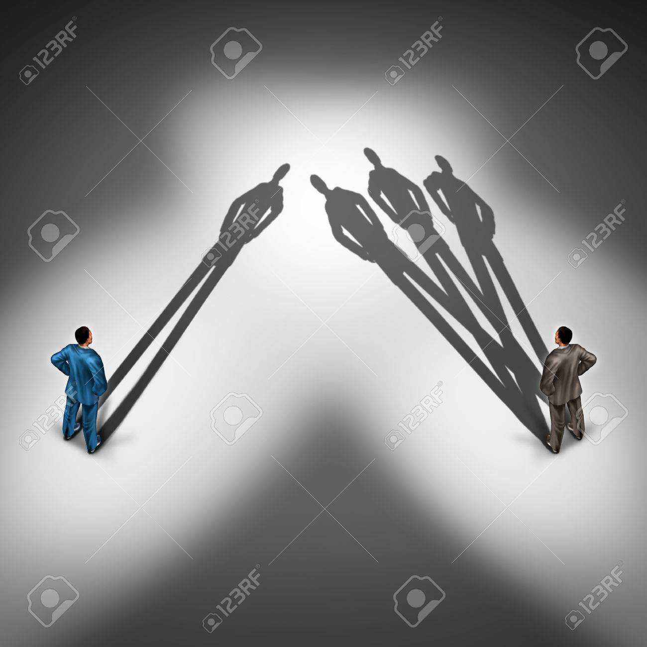 Worker productivity concept and productive employee symbol as two businessmen with one person with a single cast shadow and another business person with a group of shadows as a skillfull overachiever. - 47255126