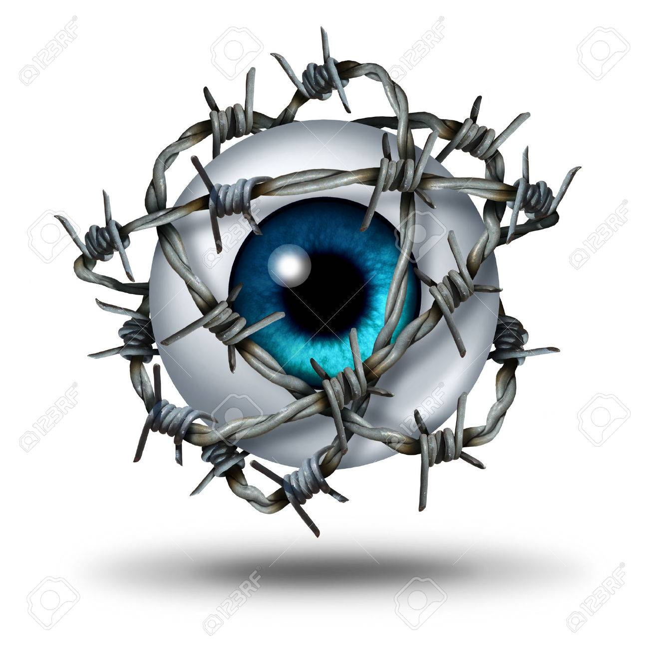 Eye Pain Medical Concept As A Human Vision Organ Wrapped With ...