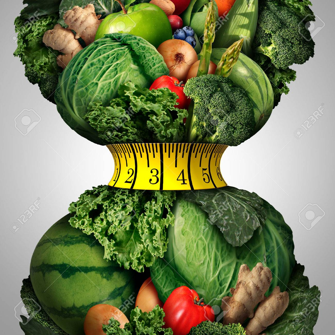 Healthy weight loss diet as a group of fresh fruits and vegetables with a fitness tape measure wrapped around a tight shrinking waistline shape as a metaphor for healthy lifestyle weightloss. - 48270148