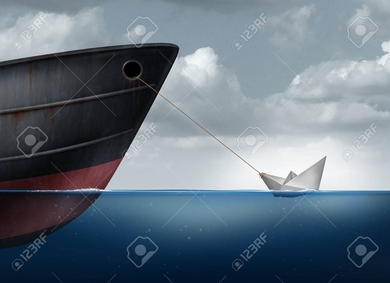 Amazing power concept as a small paper boat in the ocean pulling a huge metal ship as an overachiever metaphor for maximizing potential and business motivation for accomplishing impossible tasks through belief and determination. Stock Photo - 48667081