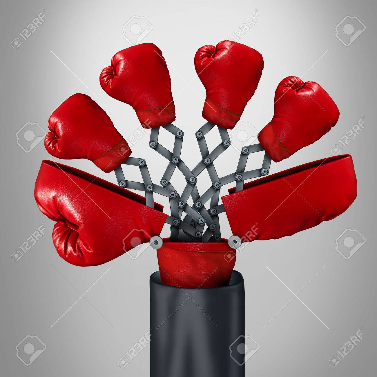 Innovative competitor business concept as an open big boxing glove with four other red gloves emerging out as a game changer strategy symbol for competitive innovator advantage through clever invention. Stock Photo - 49008478