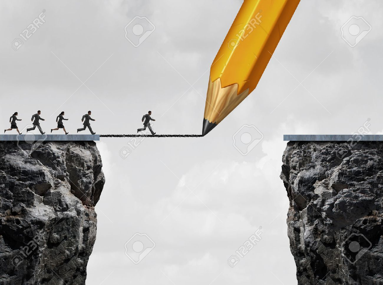 Drawing a bridge and conquering adversity business concept as a group of people running from one cliff to another with the help of a pencil line sketch as a concept for bridging the gap for success. Stock Photo - 49949772