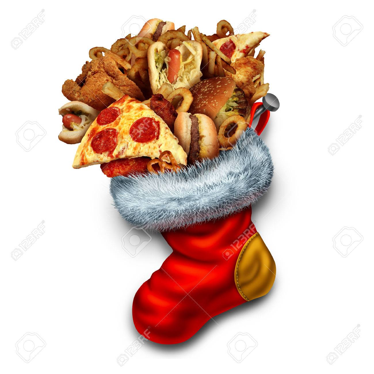 Unhealthy Holiday Eating Symbol As A Group Of Greasy Fast Food