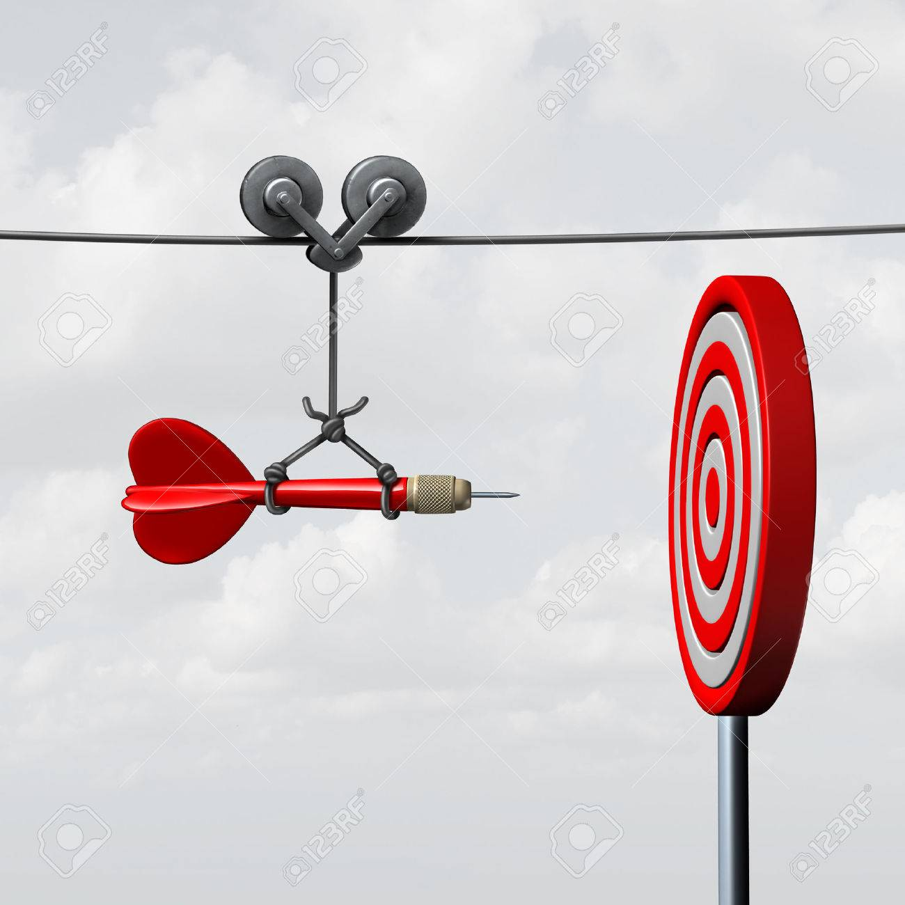 Success hitting target as a business assistance concept with the help of a guide as a symbol for goal achievement management and aim to hit the bull's eye as a dart assured to go straight towards the center. Stock Photo - 49949635