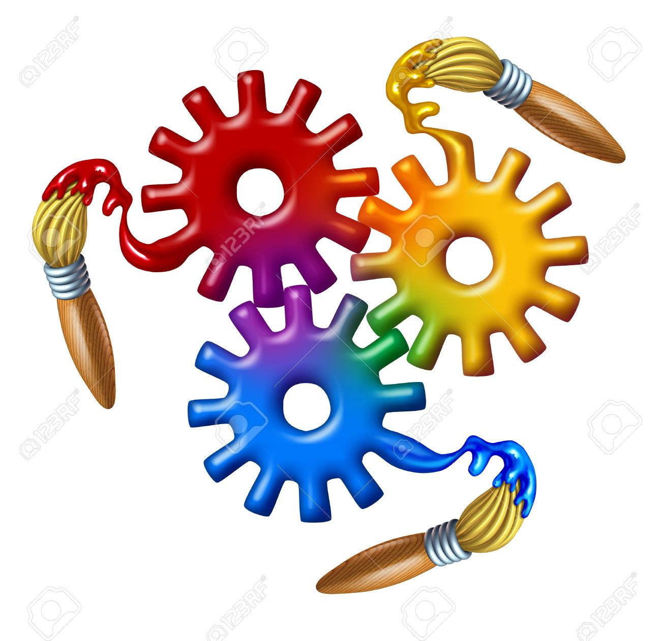 art business symbol and color theory icon as a group of gears