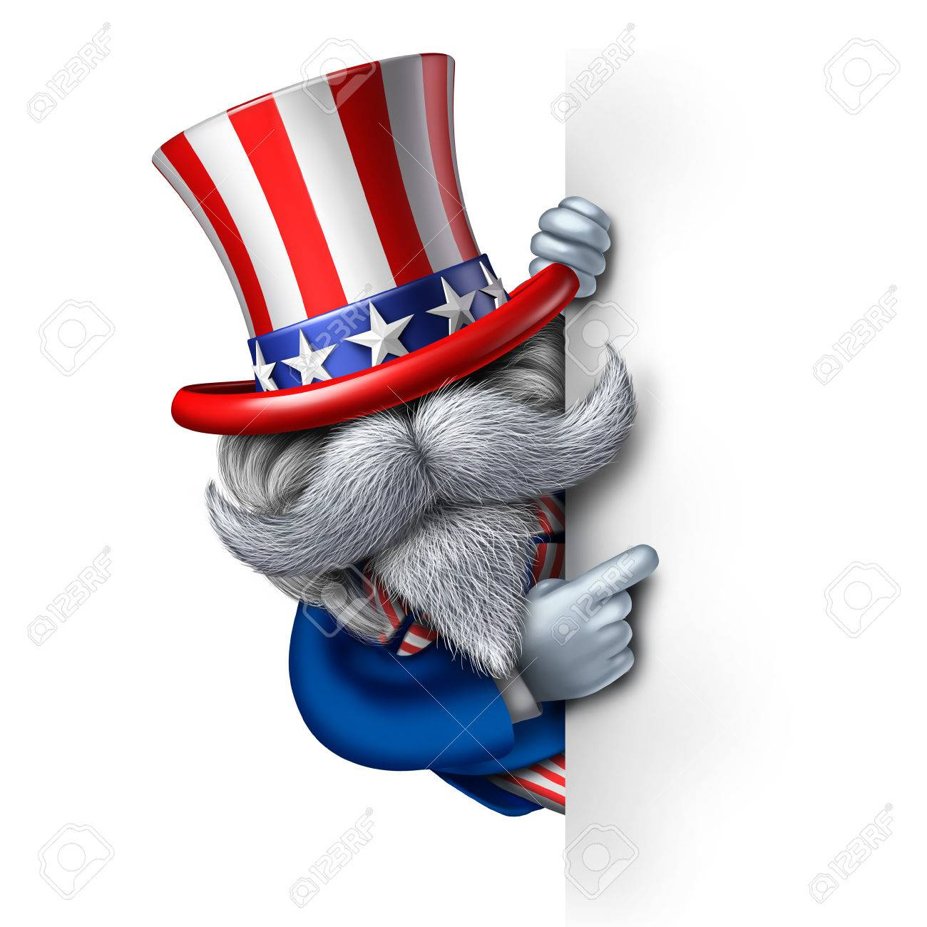 Uncle Sam Character Holding A Blank Vertical Sign As A Patriotic