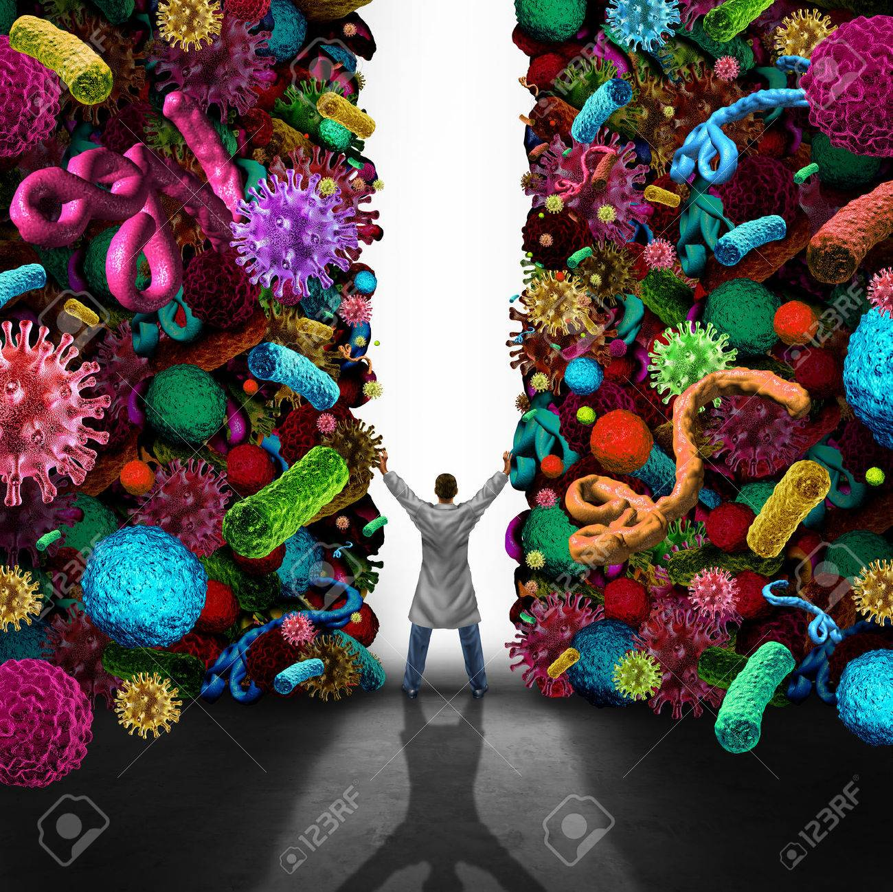 Medical success concept as a doctor or specialist physician opening a wall made of viruse bacteria and cancer disease cells as healthcare or health care symbol for medication treatmnt and cure or scientific breakthrough in medicine science. Stock Photo - 50924018