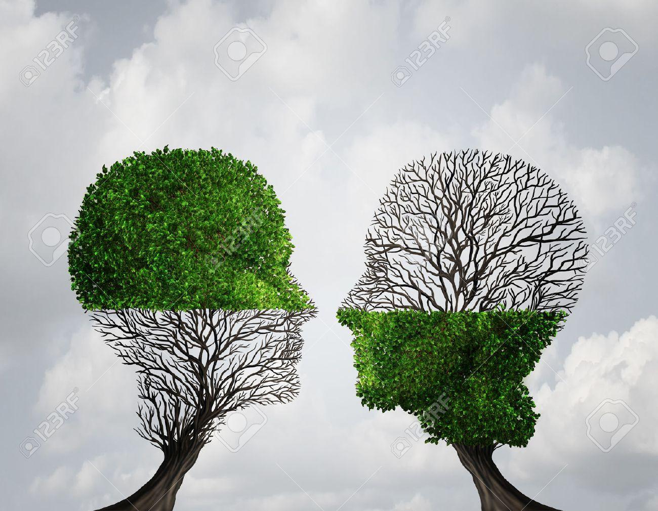 Se Complementan Entre Sí Concepto Como Dos árboles Con La Mitad Del