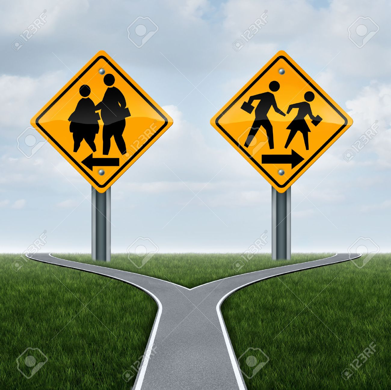School fitness symbol and physical education concept as overweight obese students on a sign and another with healthy active fit children running as a lifestyle crossroad choice metaphor for kids. - 51142387