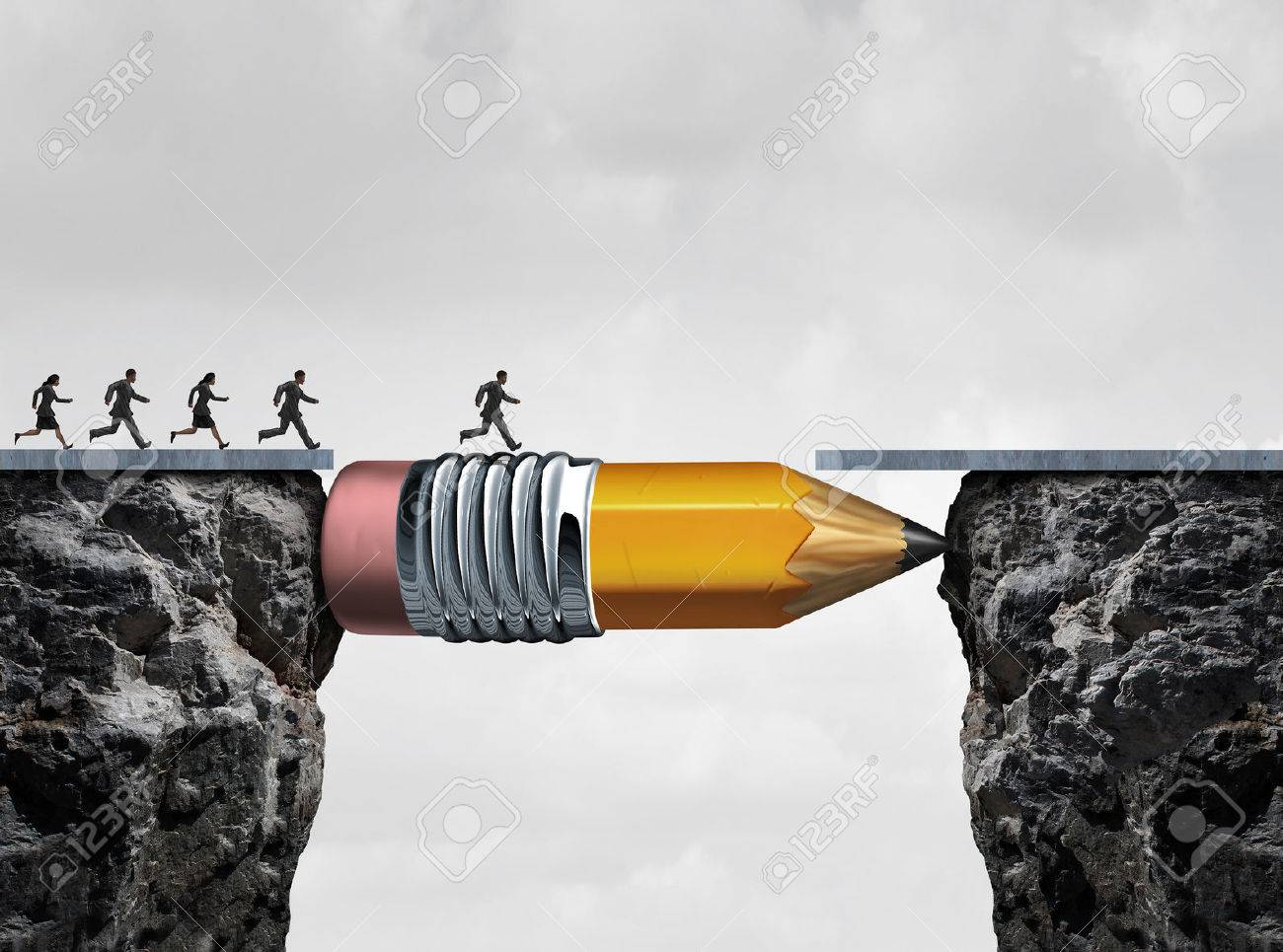 Business success symbol and conquering adversity as a group of people running from one cliff to another with the help of a pencil acting as a bridge in a concept for bridging the gap to achieve a goal. - 51142468