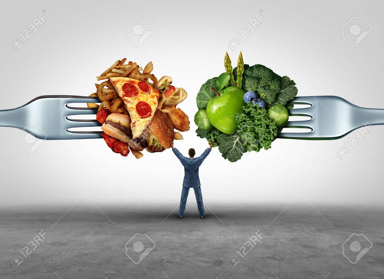 Food health decision and diet choice concept and nutrition options dilemma between healthy good fresh fruit and vegetables or greasy cholesterol rich fast food on a fork with a man in the middle uncertain of what to eat. - 51757312