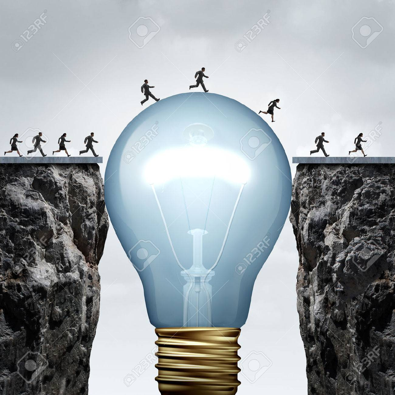 Creativity business idea solution as a group of people on two divided cliffs being connected by a giant light bulb closing the gap and creating a bridge to enable a crossing to success as a cretive thinking metaphor.. - 51757391