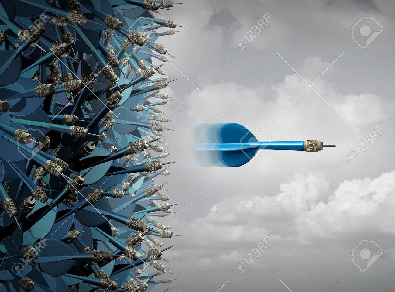 Business success focus as a symbol for successful communication and marketing as a group of mixed up darts and one focused individual emerging in a straight line out away from the pack as a leadership and performance metaphor. - 51757411