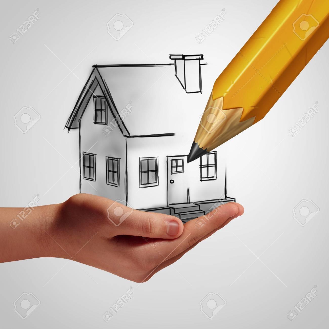 Sogno Concetto Di Casa Come Una Mano In Possesso Di Un Disegno Di