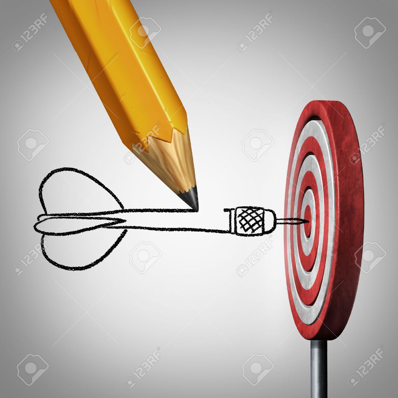 Success goal planning business concept as a pencil drawing a dart hitting the center of a target on a dartboard as a metaphor for controllig your destiny by creating a plan and visualization. - 52657696
