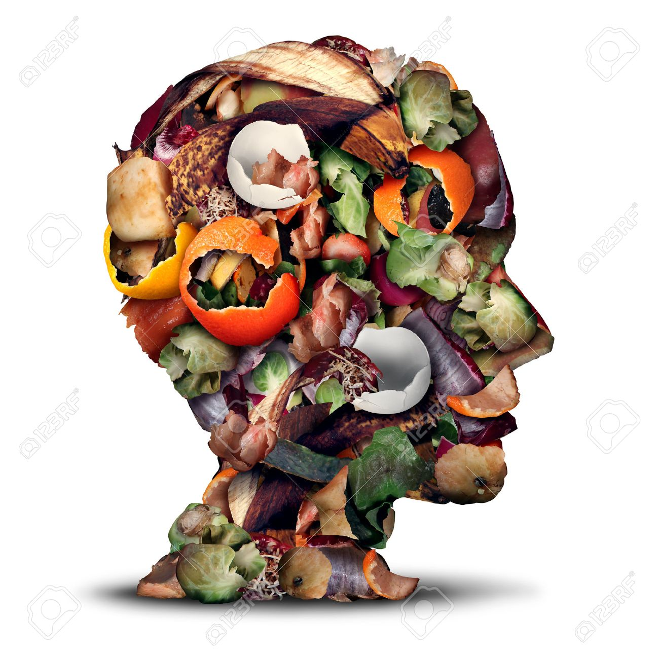 Compost thinking and composting concept as a pile of rotting kitchen fruits egg shells and vegetable food scraps shaped as a human head as organic waste for recycling as an environmentally responsible icon. - 52657698