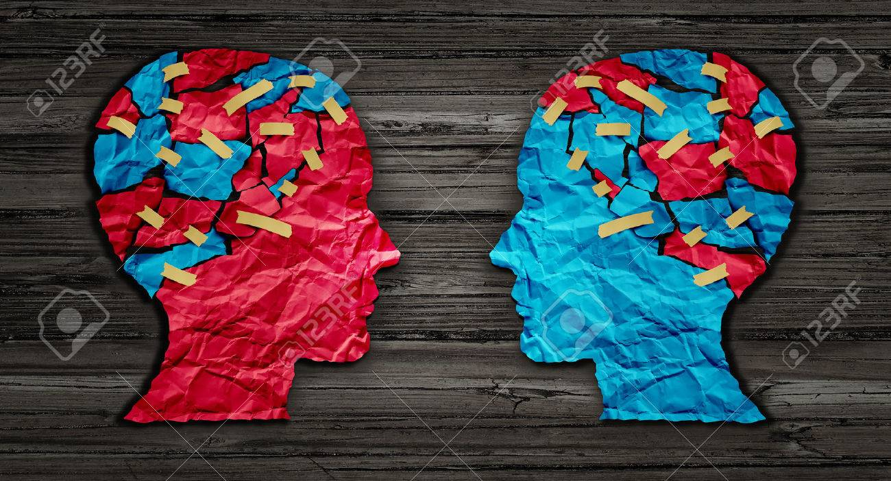 Thinking exchange and idea partnership business communication concept as a red and blue human head cut from crumpled paper sharing broken pieces as a creative collaboration symbol for understanding political opinions or cultural differences. - 52657718