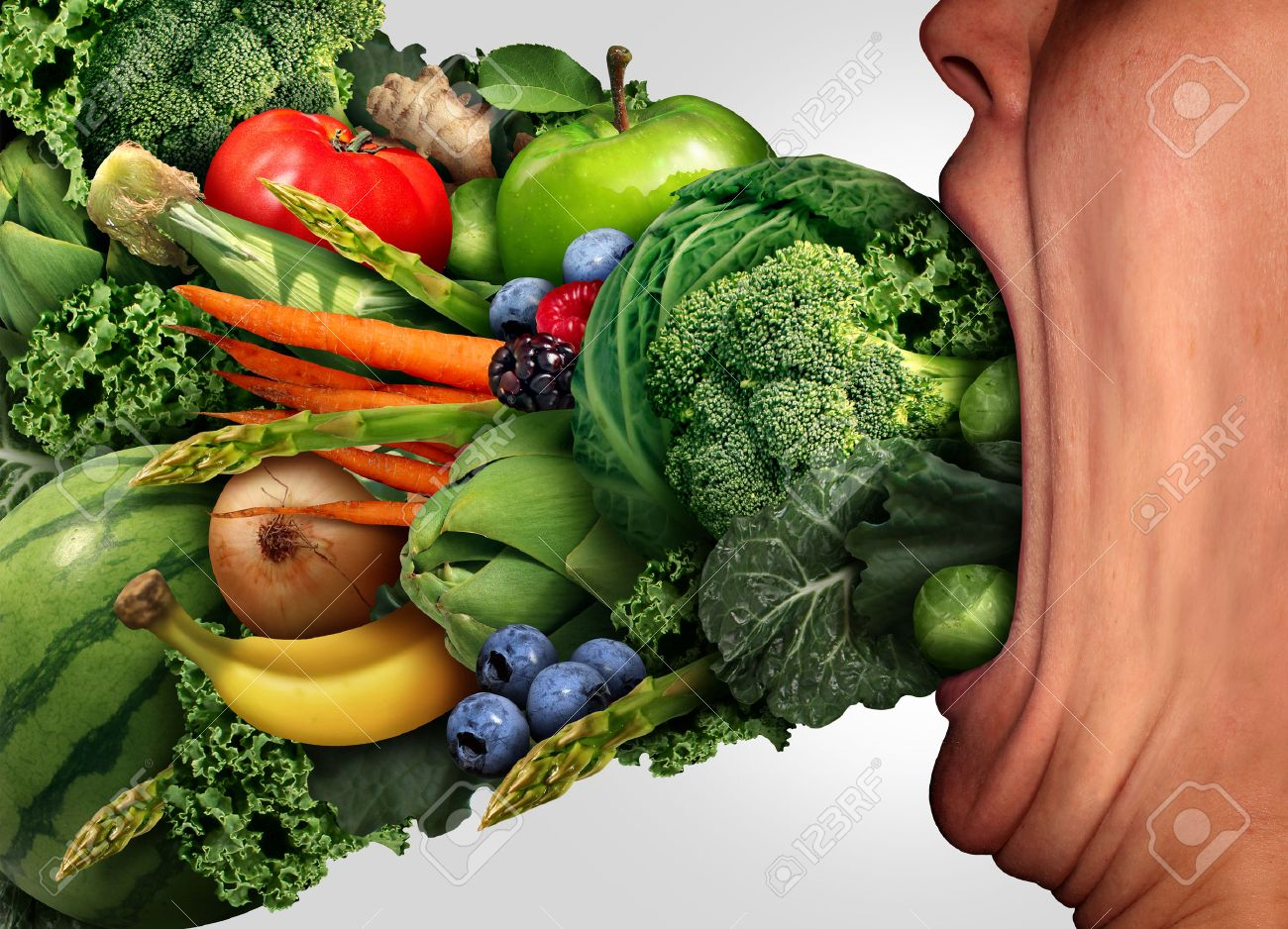 eat healthy nutrition concept as a person with a wide open stretched
