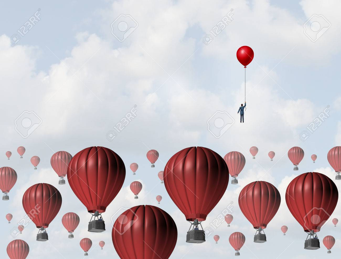 Increase efficiency and improve performance business concept as a businessman holding a balloon leading the race to the top against a group of slow hot airballoons by using a low cost winning strategy. - 52657728