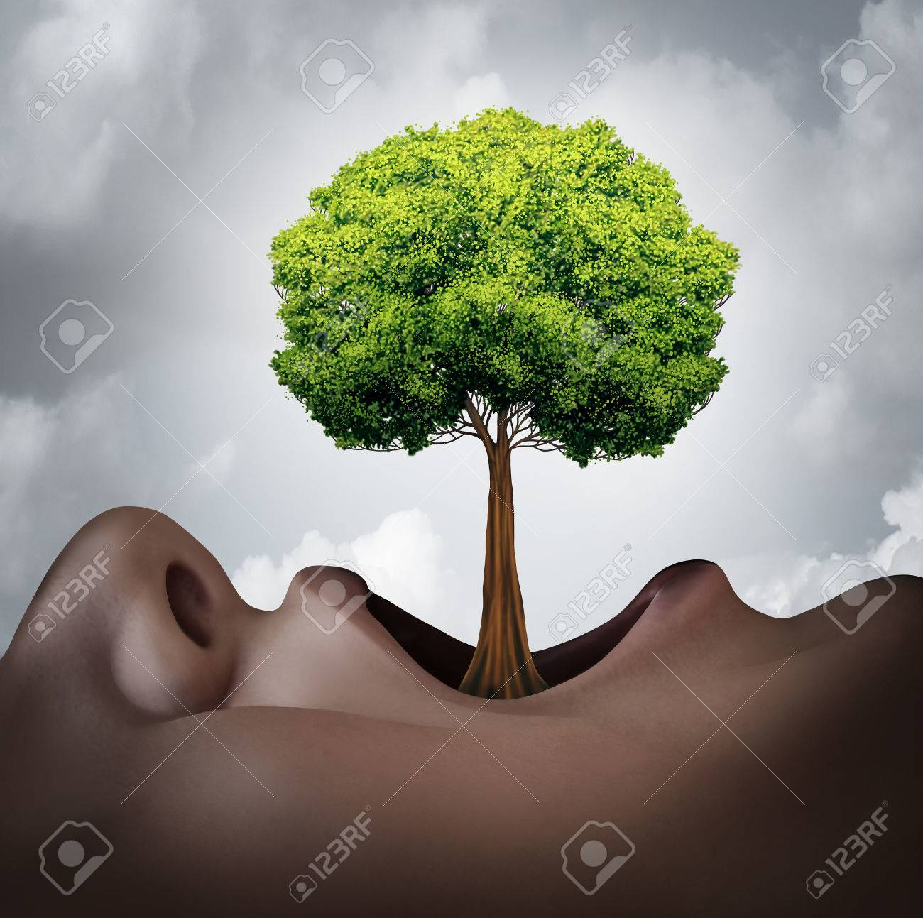 Growing your vocabulary concept and speech therapy symbol as a human open mouth with a tree growing as a tongue as a metaphor for language grammar and voice growth. - 52657745