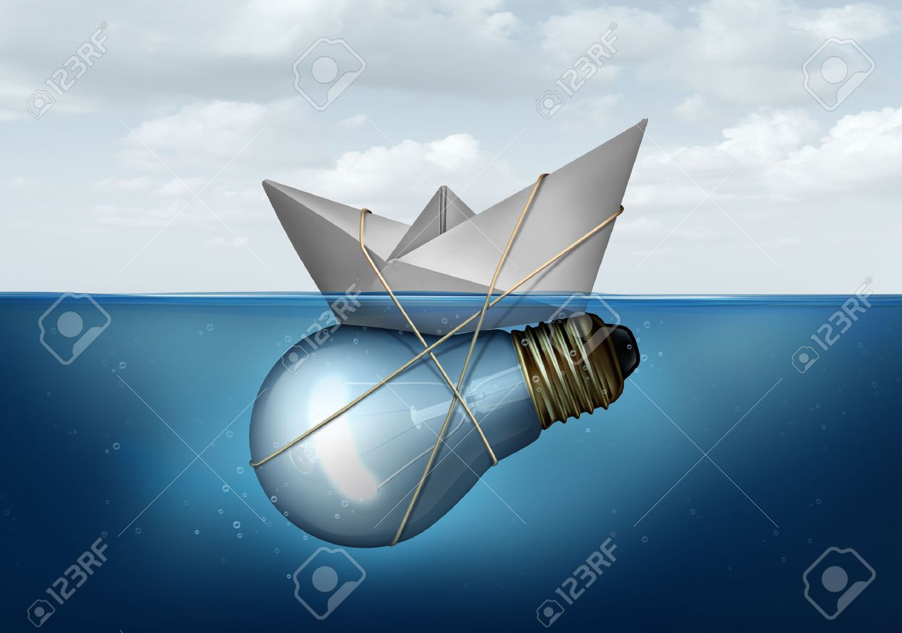 Business innovative solution and creative concept as a paper boat tied to a light bulb or lightbulb object as a success metaphor for smart corporate thinking solving economic and transportation challenges. - 53072789