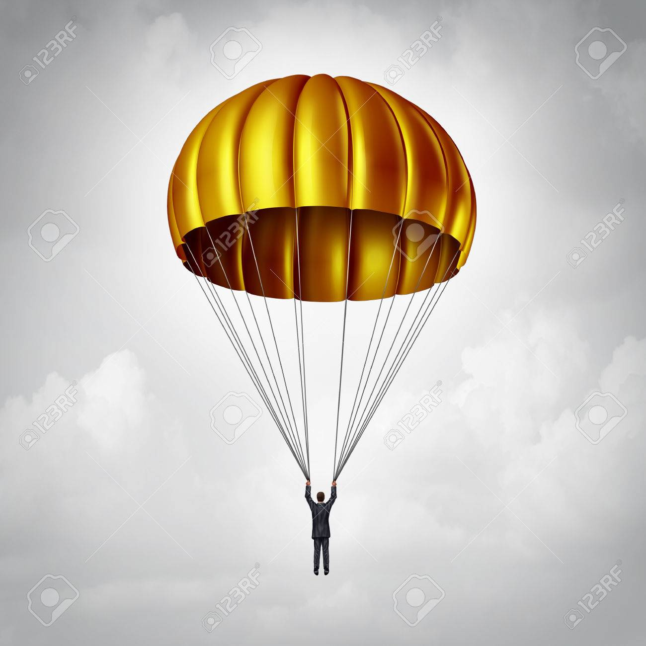 Golden parachute concept as a businessman parachuting safely down with a gold landing gear as a business benefits and award symbol for a company agreement with an executive employee that is stepping down or resigning. Stock Photo - 54085804