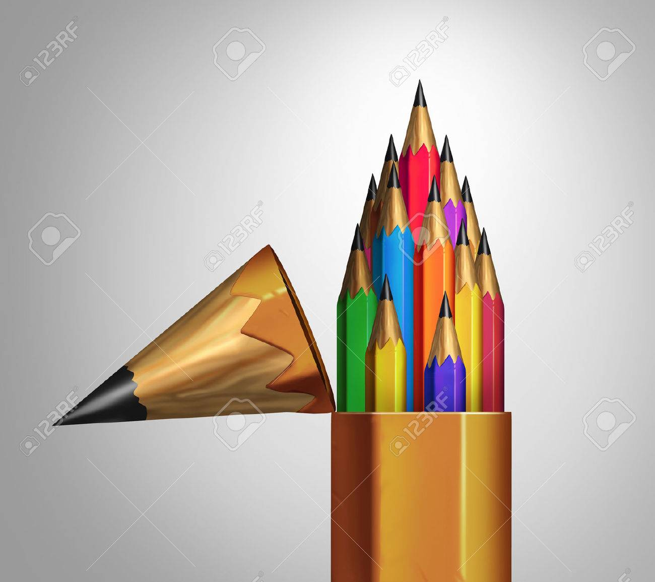 Community strength and diverse group teamwork concept as an open giant pencil with a team of multicolored smaller pencils inside as a business or education metaphor for unity and corporate diversity success. Stock Photo - 54085830