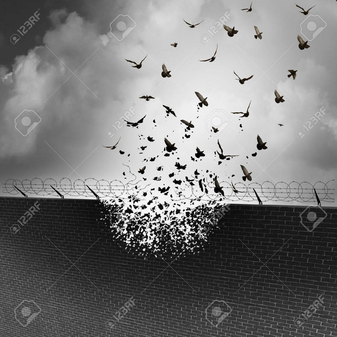 Break down walls and remove barriers and tarrifs as a business concept for open free trade with no levy or excise tax as a security wall being destroyed transforming into a group of flying birds. Stock Photo - 54085841