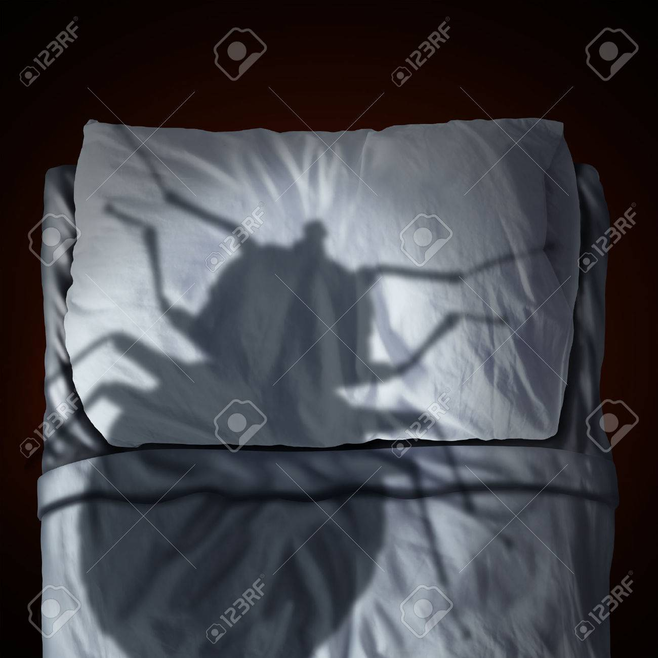 Bed bug fear or bedbug worry concept as a cast shadow of a a parasitic insect pest resting on a pillow and sheets as a symbol and metaphor for the anxiety horror and danger of a bloodsucking parasite living inside your mattress. Stock Photo - 54180975