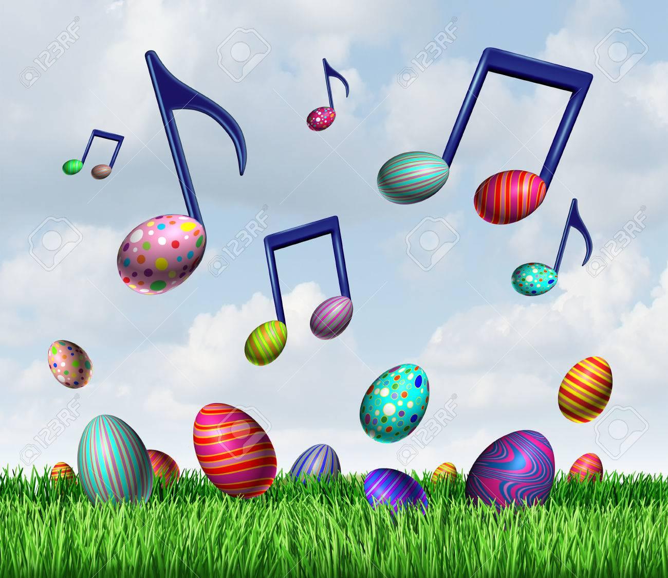 Pâques Symbole De Musique De Printemps En Tant Que Groupe D'oeufs De Pâques  Dans L'herbe Et Qui Volent Dans Le Ciel Comme Des Notes De Musique  Représentant Une Joyeuse Fête Traditionnelle Du