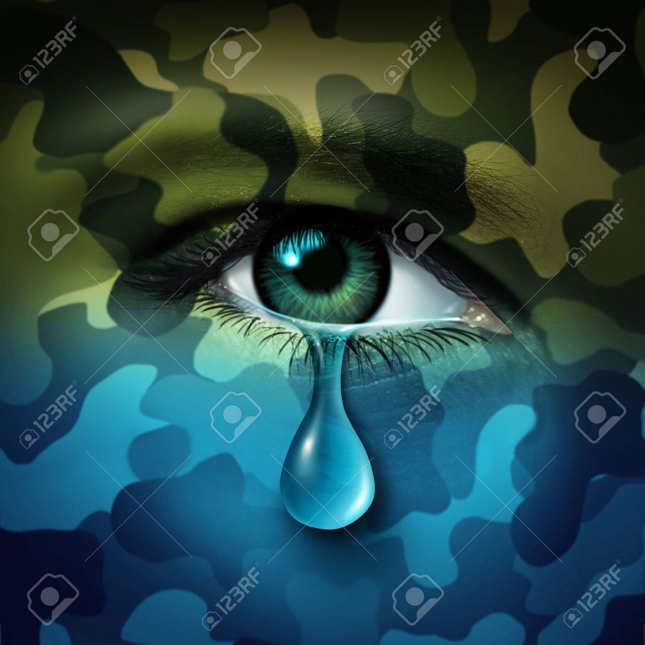 Military depression mental health concept and casualty of war symbol as a crying human eye tear with green camouflage transforming into a blue mood as a metaphor for veteran healthcare or combatant issues. - 54533129