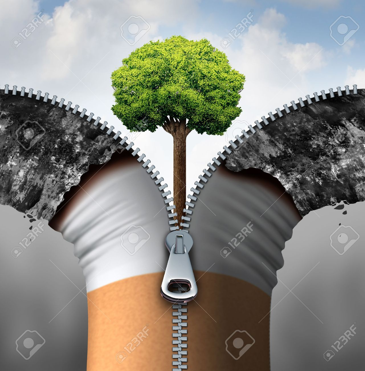Cigarette concept and anti smoking symbol as a tobacco product opened with a 3D illustration zipper revealing a clean blue sky and healthy green tree growing as a health symbol for lifestyle change. - 54533131