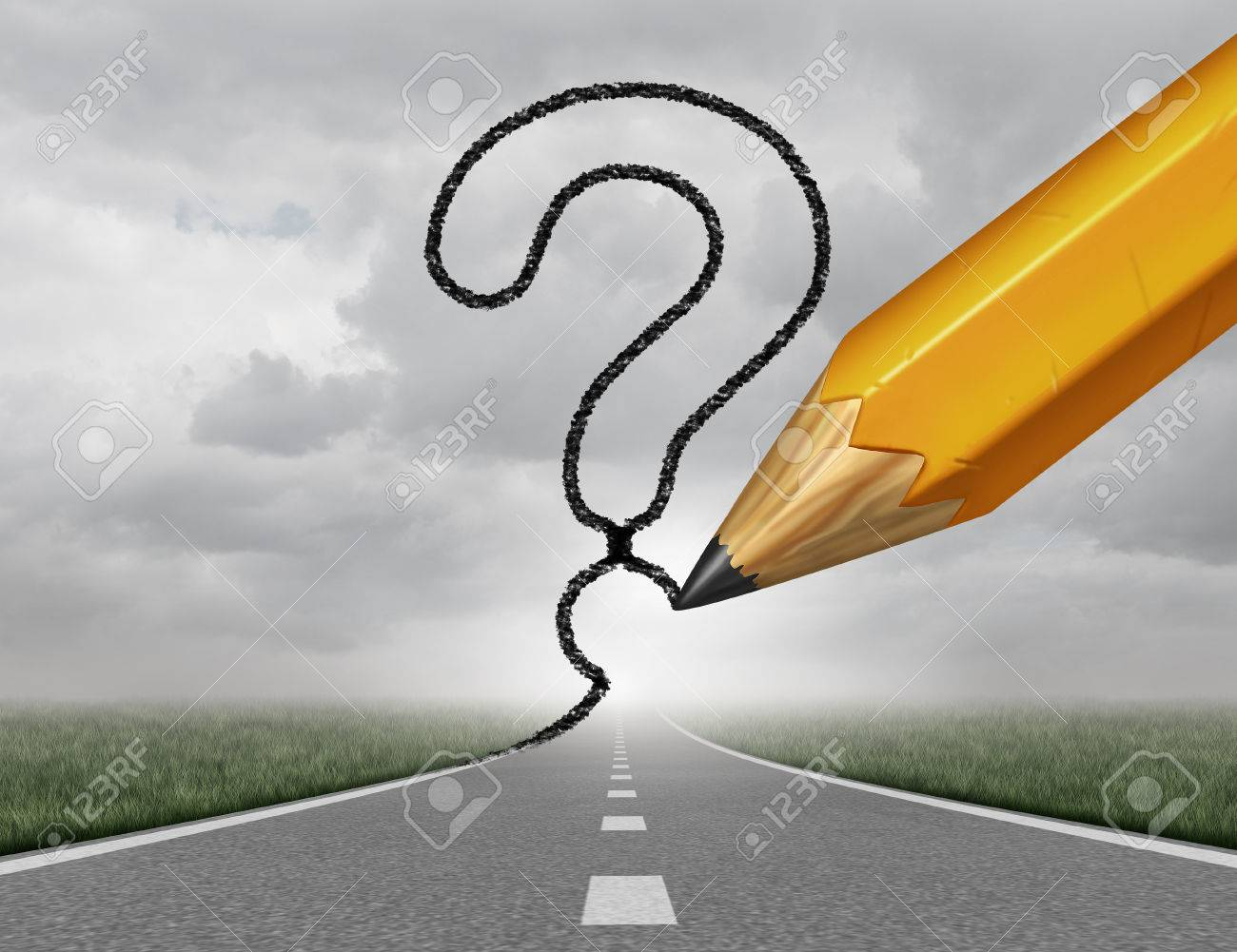 Business path questions road to change and corporate career pathway as a rising highway with a 3D illustration pencil drawing a question mark on a sky representing financial direction guidance and looking for answers. Standard-Bild - 55347946