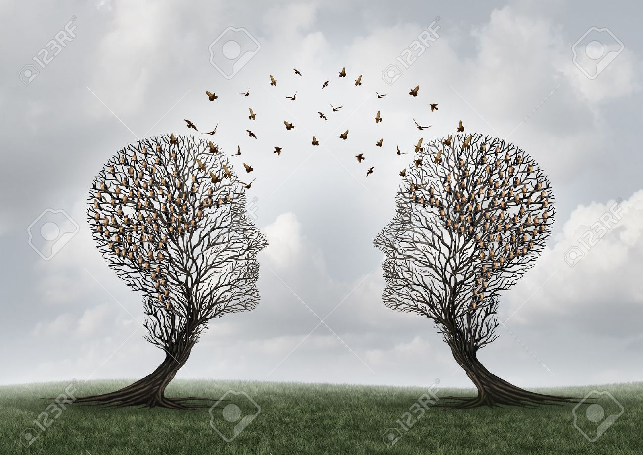 Concept of communication and communicating a message between two head shaped trees with birds perched and flying to each other as a metaphor for teamwork and business or personal relationship with 3D illustration elements. - 55630139